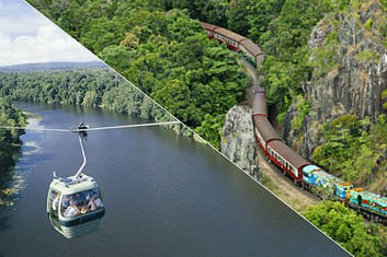 Kuranda Scenic railway nears Robbs Monument and Skyrail