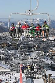 Mt Buller's 6 Seat Chairlift leaving the village