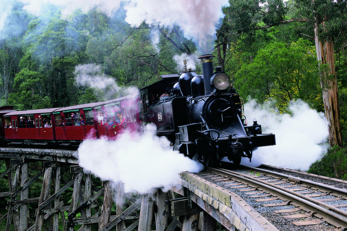 Puffing Billy crossing a rail bridge