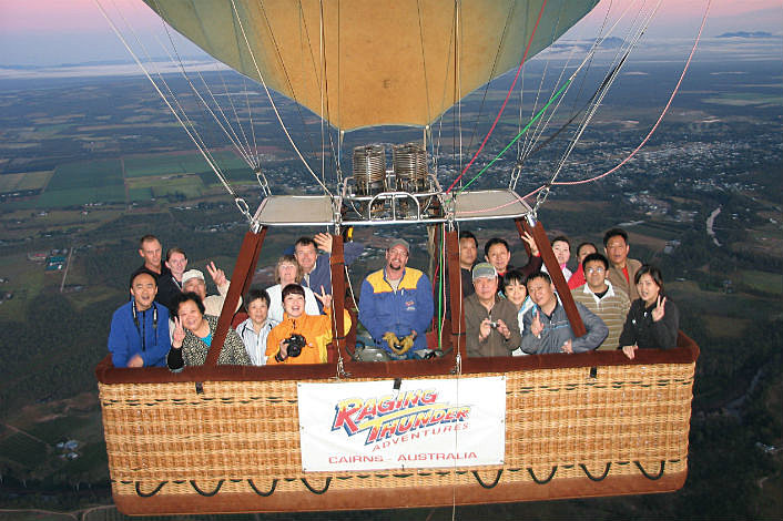 group shot from balloon
