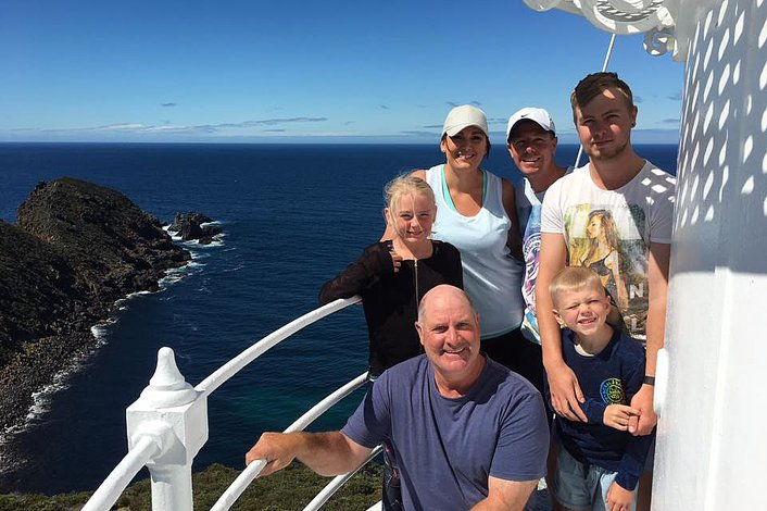 Views from the lighthouse balcony and a bunch of Bruny locals joining in the fun.
