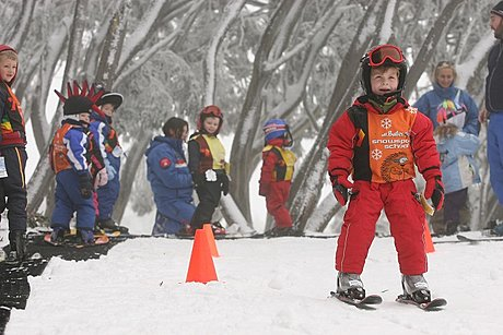 Kids in ski school on the Mt Buller tour
