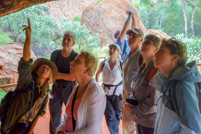 Learning about the art sights on Uluru