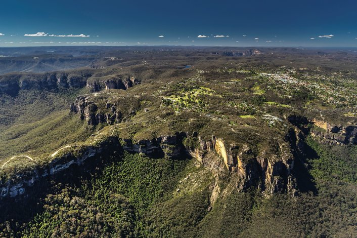 Blue Mountains - Aerial views of Narrowneck and Katoomba surroundings, Destination NSW