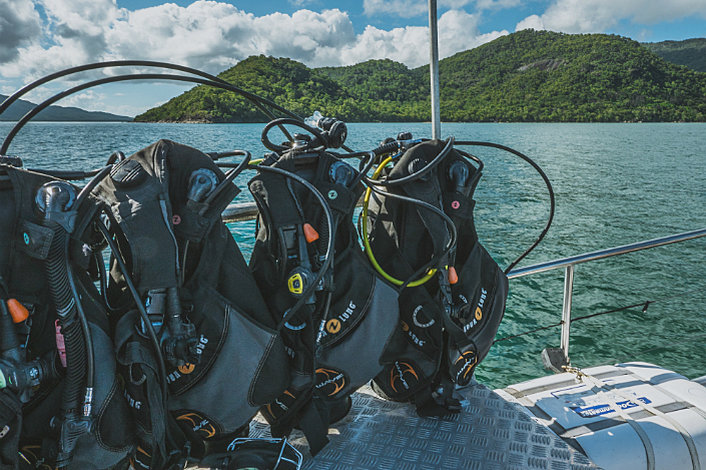 Dive gear at the ready