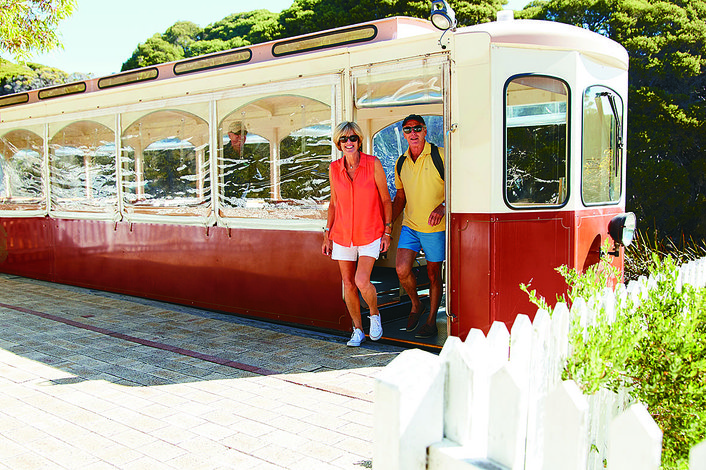 Catch Rottnest's historic train from Oliver Hill to the Settlement at the end of your tour