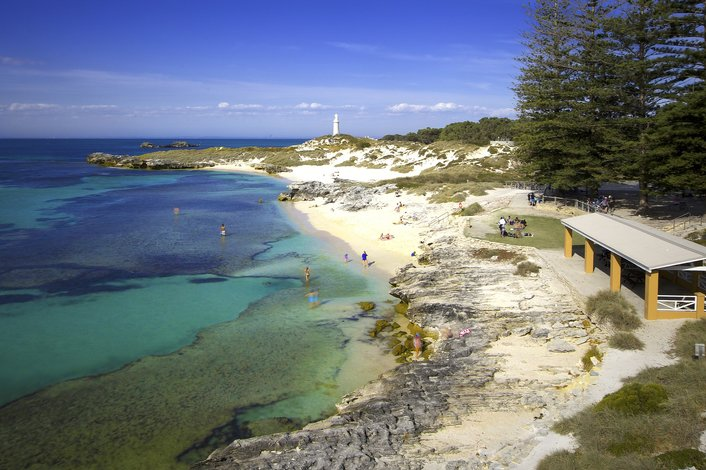 Relax at one of Rottnest's beautiful bays or beaches
