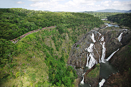 Aerial view of Barron Falls and Lookout