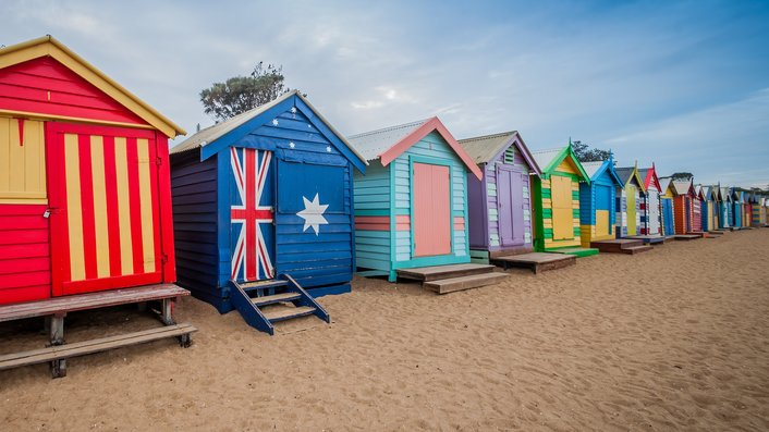 The spectacular & colourful Brighton Beach boxes
