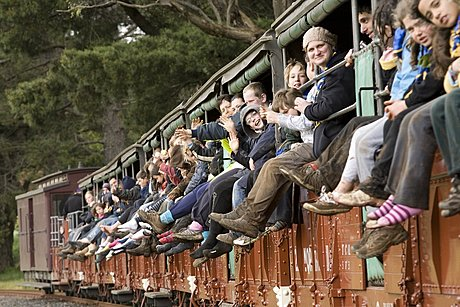 Passengers on the Puffing Billy