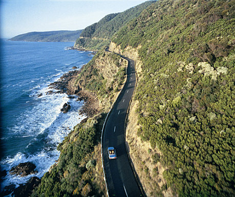 The curving Great Ocean Road