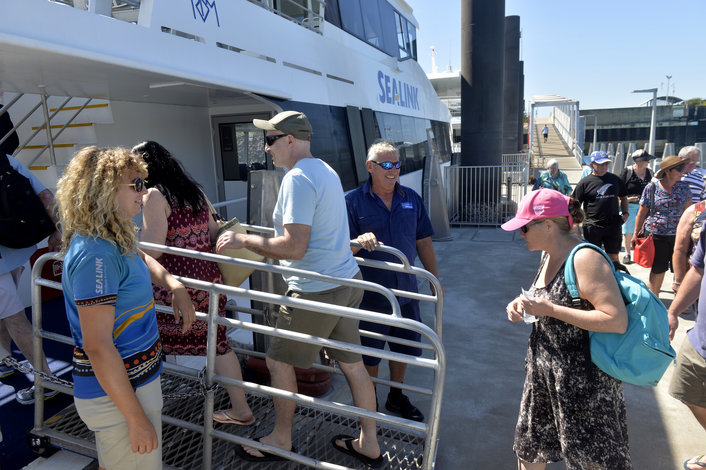 Boarding the vessel for a Darwin Harbour cruise