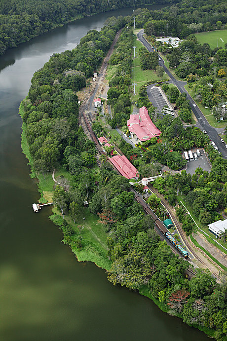 Aerial view Kuranda Station & Barron River