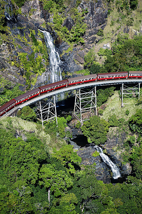 Kuranda Scenic Railway passing over Stoney Creek Falls