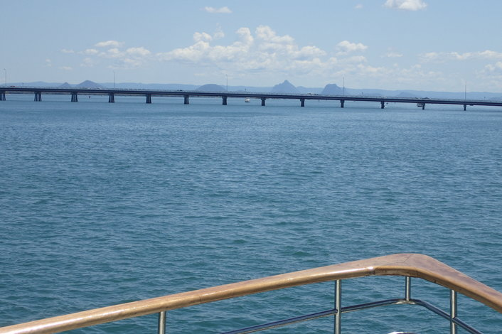 Bribie Island bridge, Glasshouse Mts in distance