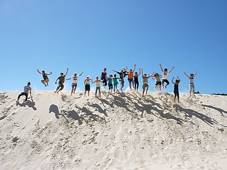 Jumping at the Henty Dunes, exclusive to Jump Tours