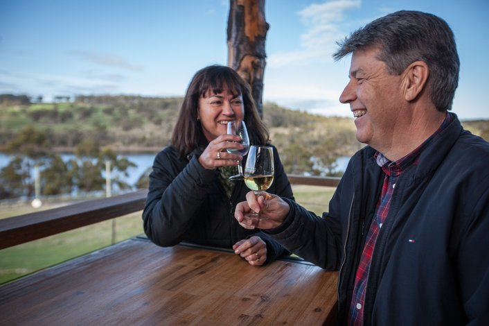 Enjoy an nip of whisky overlooking Bruny Island