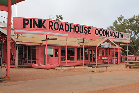 Pink Roadhouse in Oodnadatta