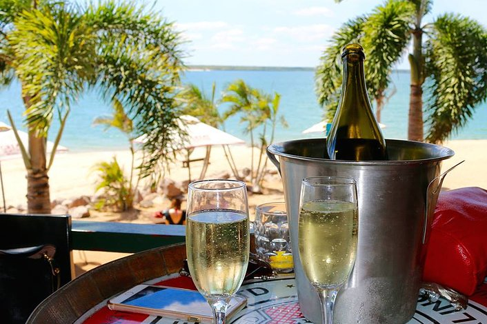 Champagne overlooking the beach at Crab Claw Island resort