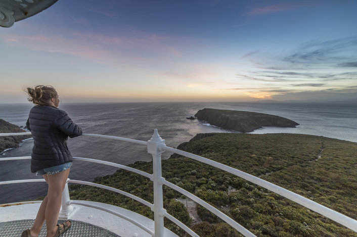 Cape Bruny Lighthouse overlooking the Tasman Sea - Bruny Island Safaris