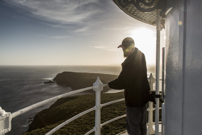 Lighthouse guide Matt enjoying the Bruny Island sunsets