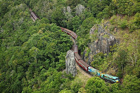 Kuranda Scenic Railway winding past Robbs Monument