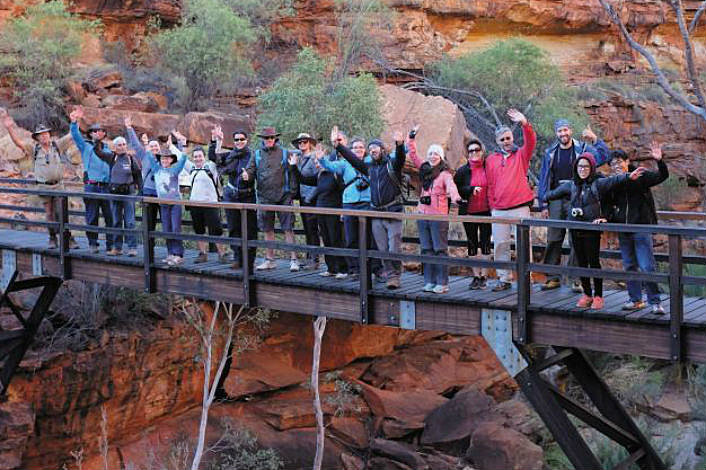 Tour group on a bridge at Kings Canyon