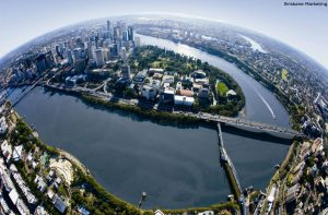 fish eye aerial view of Brisbane