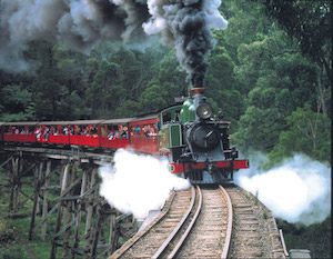 Steam Train over a bridge