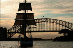 Tall Ship near Sydney Harbour Bridge