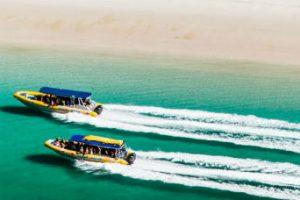 Two Ocean Rafts cruising along Whitehaven Beach