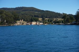 Looking across the water towards Port Arthur