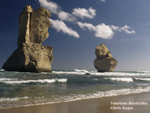 Photo of two of the 12 Apostles taken from the beach