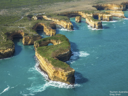 Aerial photo along the bays of the great ocean road