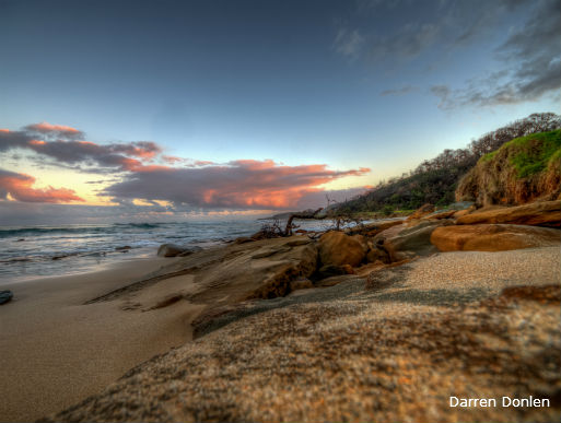Beach shot with pink clouds along the Great Ocean Road