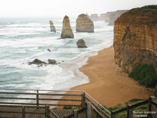 Looking towards the 12 Apostles on the Great Ocean Road