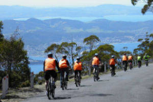 mountain Bike riding down Mt Wellington Hobart