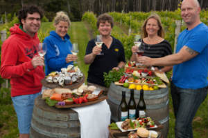 A group enjoying a selection of Bruny Island food and wines