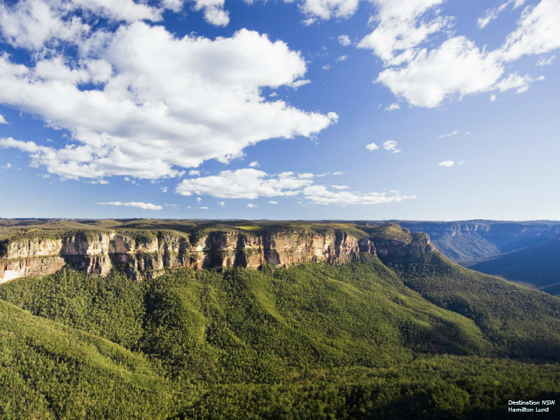 Sandstone cliffs that make up part of the Blue Mountains