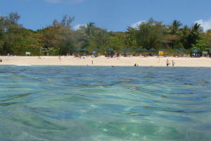 green Island beach from a snorkellers perspective
