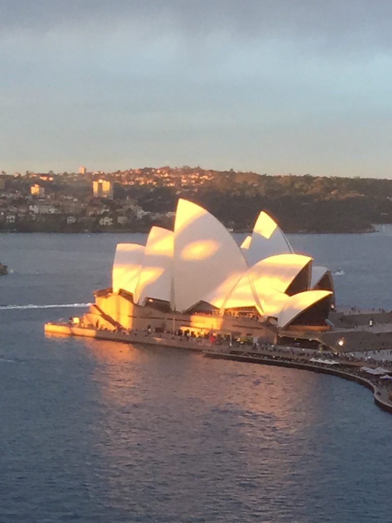 Sunsetting on the Sails of Sydney Harbour Bridge during Vivid 2015
