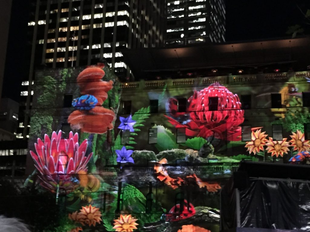 'Light' Flowers on the wall of Customs house during Vivid 2016