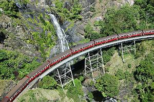 Kuranda Scenic Train passing Stoney Creek Falls