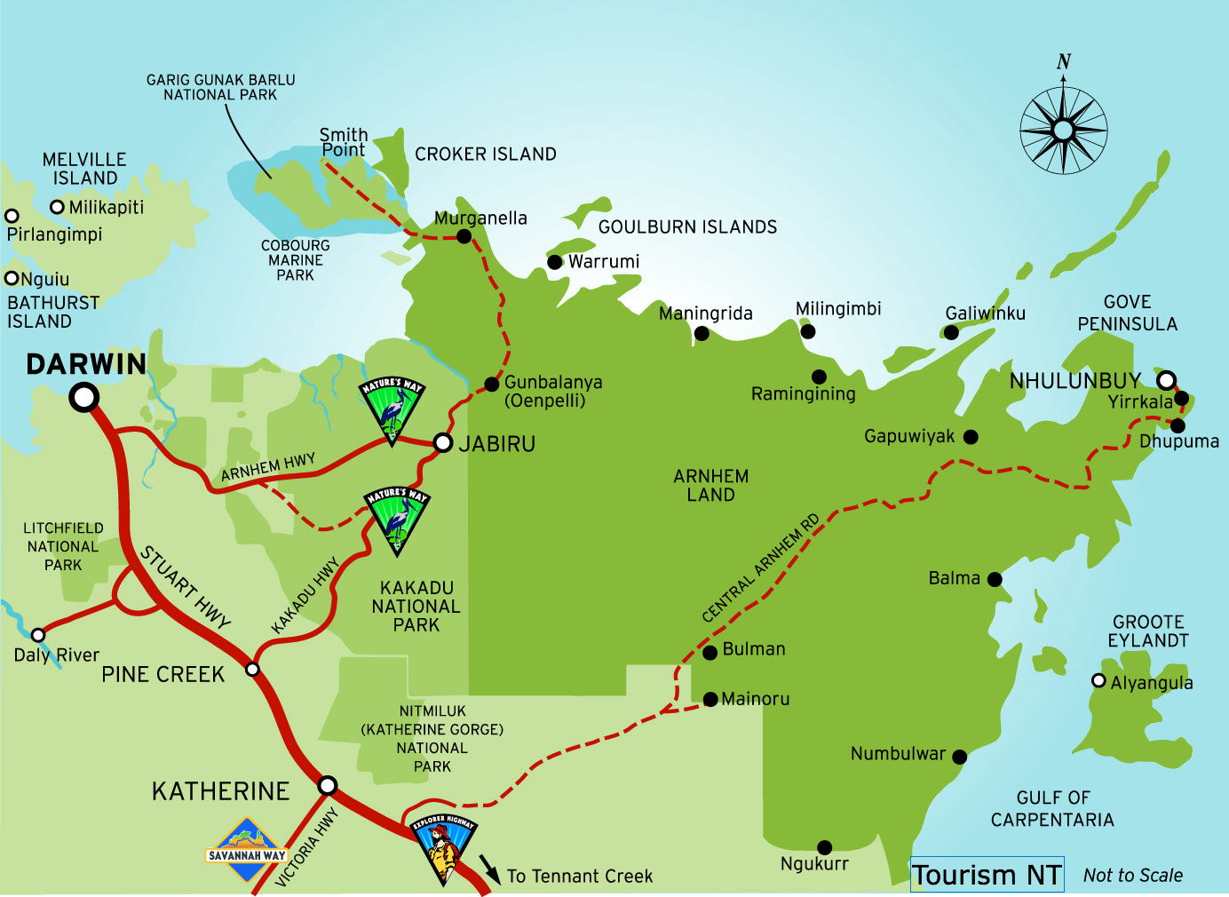 Map showing darwin and the Northern Territory