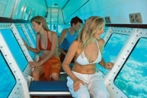 Viewing the great Barrier reef from a semi submersible