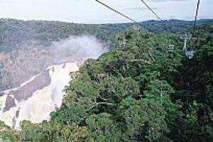 Skyrail cable car overlooking Barron Falls in flood