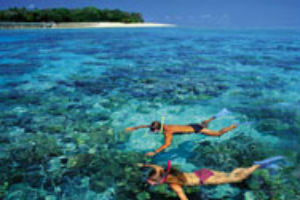 A couple snorkelling near Green Island - Cairns