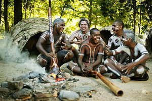 Traditional owners at a fire