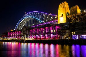 sydney Harbour bridge lit up for Vivid