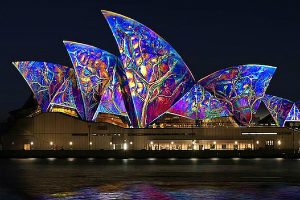 Sails of Sydney opera House Lit up during Vivid